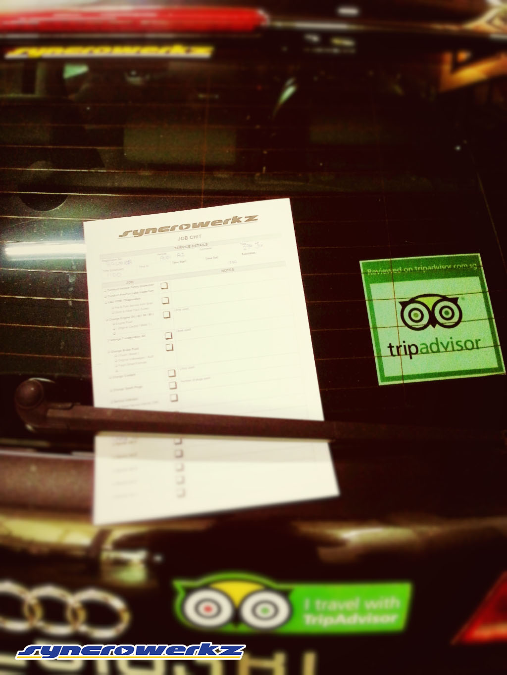 tripadvisor sticker with the Syncrowerkz job sheet