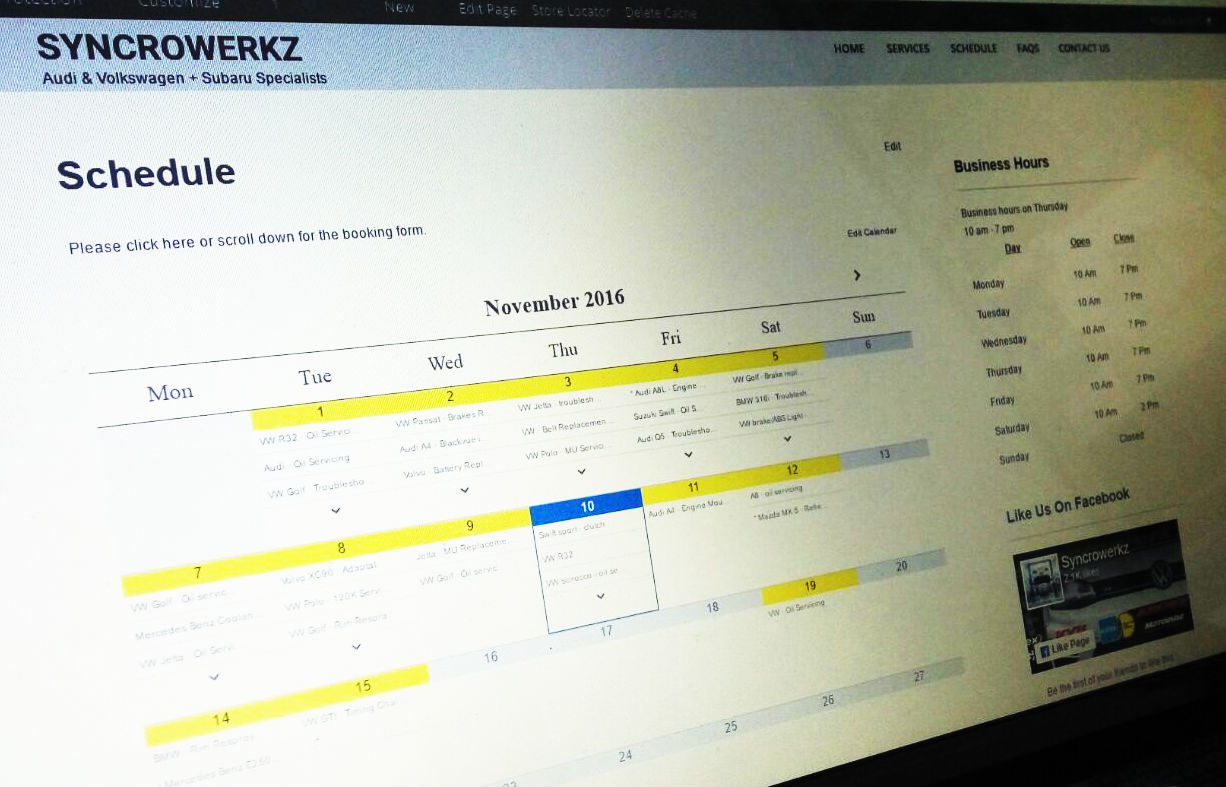 Picture of the Syncrowerkz Online Schedule, available at www.syncrowerkz.com.sg/schedule
