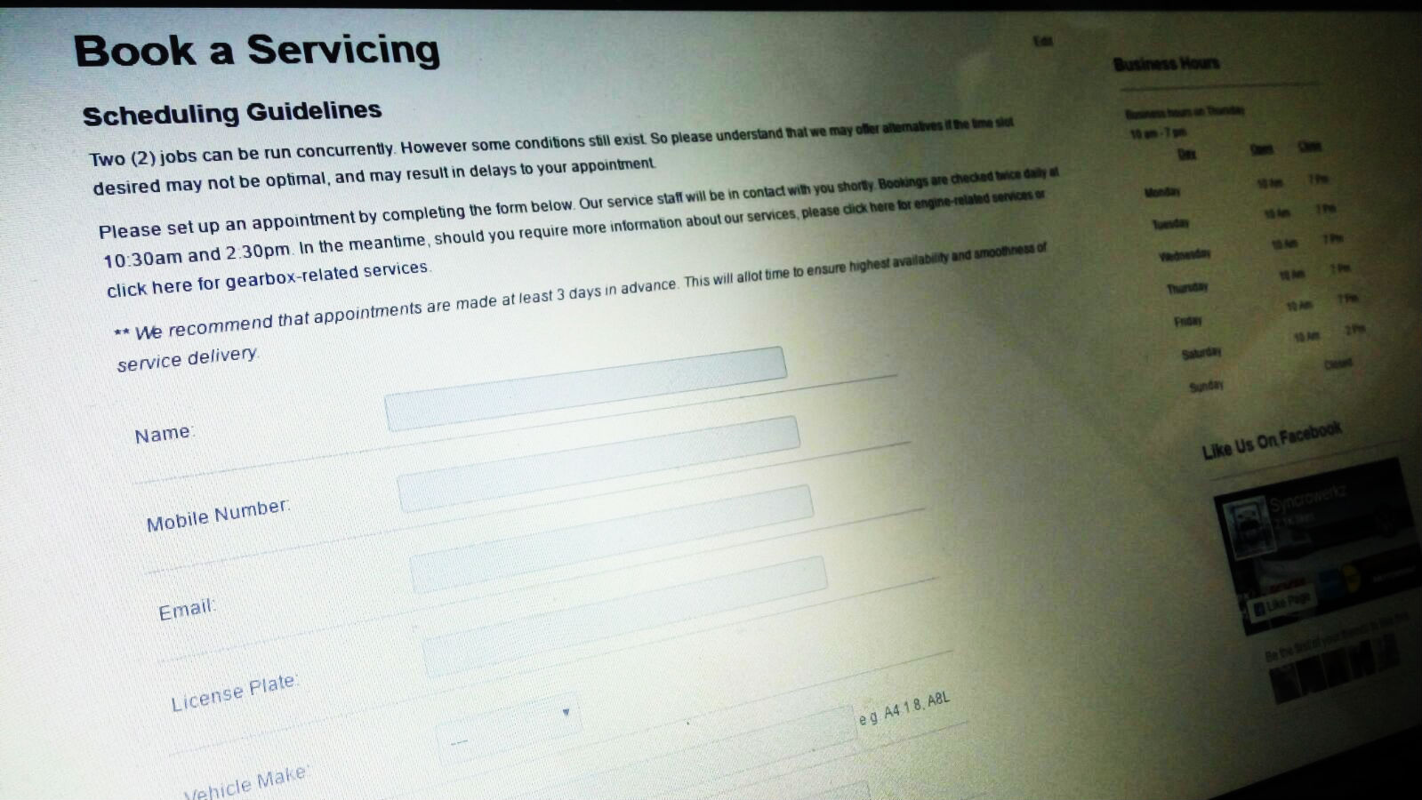 Syncrowerkz Appointment Form for Booking your servicing in